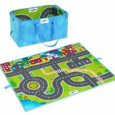 "Viking Playmat with Cars by Viking. $24.99. Durable playmat easily becomes a storage tote. Open mat measures 38.5"" x 35"". Features a colorful roadway to race the included cars on. From the Manufacturer                Viking toys are perfect first vehicles for children 12 months and up. They're sized just right for little hands, and their smooth soft edges are safe for teething toddlers. Plus, they're dishwasher safe.                                    Product Description       ..."