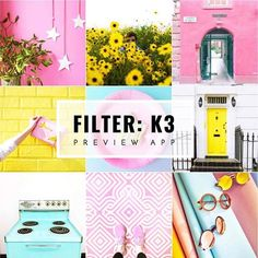 Colorful Instagram feed ideas. Using colorful filter K3 in Preview app. • I used filter K3 from the is in the Colorful Filter Pack in • Photos with pink, yellow & light blue • K3 makes the yellow more light & bright. • No harsh shadows • Pink becomes very soft • Blue becomes light & soft