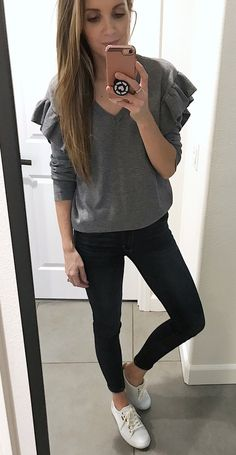#winter #outfits  gray long-sleeved v-neck shirt