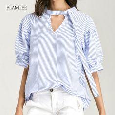 PLAMTEE 2017 Office Striped Blouse Loose Plus Size Women's Shirt Fashion Hanging Neck V Collar Top Summer Short Sleeve Blouses