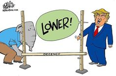 Trump & Today's gop lower the bar of decency! Political Satire, Political Cartoons, Caricature, Donald Trump, Trump Cartoons, Funny Memes, Family Guy, Humor, Fictional Characters