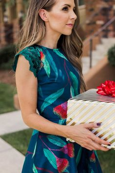 velvet holiday dress with lace sleeves