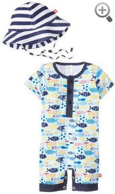 Zutano Baby-Boys Infant Sunfish Henley Bodysuit and Sun Hat Set