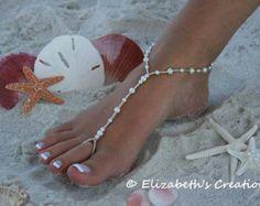Barefoot Sandal Simply Elegant White Pearls by moodyelizabeth