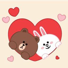 Love Cartoon Couple, Cute Love Cartoons, Arte Do Mickey Mouse, Cony Brown, Cute Bear Drawings, Bunny Drawing, Cute Love Gif, Line Friends, Cute Cartoon Wallpapers
