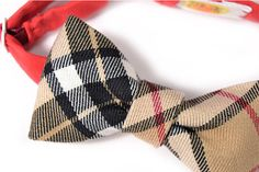Mens ClipOn Bow Tie  College black and beige plaid by nicebuzz, €18.00