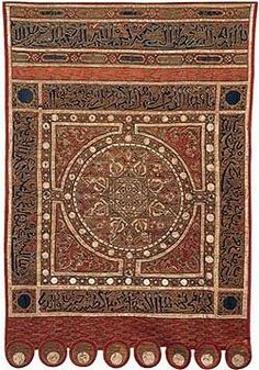 Fig.123. title: las navas de tolosa banner. location: morocco or spain. year: early 13th century. materials: silk, gold thread, and gilt parchment. significance: it's said to have been captured in 1212 at the decisive battle when the Almohad siltan al-nasir was defeated by alfonso VIII, king of castile. pg. 236