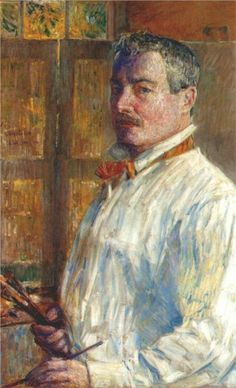 Self-portrait -1914 by  Childe Hassam (1859-1935) The web site associated with this pin has a career timeline that features many examples of the enormous amount of art he created.