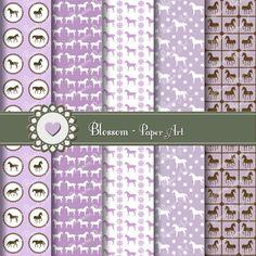 Violet Horses Scrapbooking Digital Paper Pack - Scrapbook - Collage Sheet - Printables - Download Images