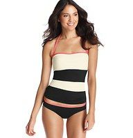 Black and White Colorblock Bandeau Tankini Top - In a Riviera-chic colorblock design, this luxe bandeau style flaunts smart removable straps—for twice the styling options. Contrast adjustable straps and piping. Removable soft foam cups. Lined. To give you the best possible fit, use the following list to match sizes to your cup size: XS=A, S=A/B, M=B/C, L=C, XL=C/D
