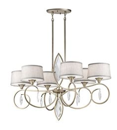 Kichler Casilda Chandelier in Sterling Gold Metal Chandelier, Chandelier Ceiling Lights, Ceiling Fan, Chandeliers, Livex Lighting, Outdoor Lighting, Under Cabinet Lighting, Fabric Shades, Wall Sconces