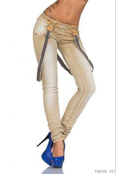 Τζιν παντελόνι με τιράντες - Μπεζ