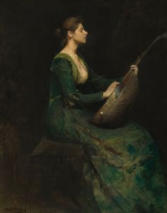 Lady with a Lute Thomas Wilmer Dewing, 1886, American, National Gallery of Art  Absolutely breathtaking.