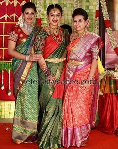 Vandana and Preeta Silk Sarees - Saree Blouse Patterns Sari Blouse Designs, Fancy Blouse Designs, Blouse Patterns, Indian Silk Sarees, Soft Silk Sarees, Indian Dresses, Indian Outfits, Indian Clothes, Saree Color Combinations