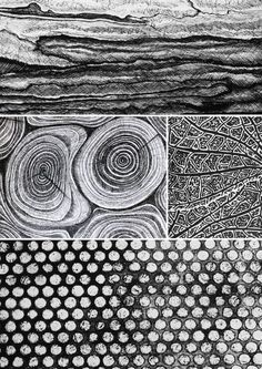 Mark Making used to create textural patterns; monochrome pattern design // Michelle Lusby-inspiration-simple marks to create texture, repeating patterns Texture Drawing, Texture Art, Texture Sketch, Wood Texture, Patterns In Nature, Textures Patterns, Nature Pattern, Art Patterns, Monochrome Pattern
