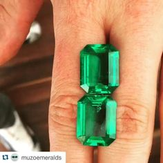 #RG @muzoemeralds - how's this for a showstopper? - no indications of clarity enhancement and weighing 11 carats each. Sourced for one of the many bespoke jewellers we work with #muzoemeralds #colombianemerald #dazzling #dream #beautiful #color #green #emerald #muzo #finejewelry #bespoke #luxury #jewelry #gemstones #emeraldcut #colombia #bogota #love #vividgreen by thejewelleryed