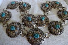 Vintage Navajo Hand Stamped Sterling Silver Webbed Turquoise Concho Belt 515G | eBay