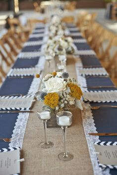 Lace Burlap Table Runner With Navy Table Cloth And Yellow Centerpiece
