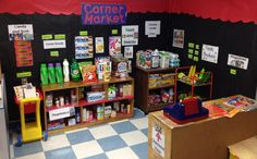 Grocery Store in dramatic play. Dramatic Play Area, Dramatic Play Centers, Play Grocery Store, Play Corner, Play Based Learning, Play Centre, Play Spaces, Creative Play, Pretend Play