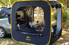 This cube tent attaches to the tailgate of your car for the perfect summer setup Camping Glamping, Camping Hacks, Outdoor Camping, Best Camping Gear, Camping Gadgets, Camping Supplies, Camping In Suv, Outdoor Gear, Tent Trailer Camping