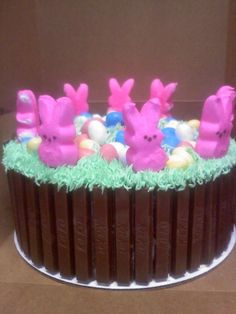 bunny peeps and kit kat cake Easter Bunny Cake, Easter Peeps, Easter Food, Easter Deserts, Easter Treats, Easter Religious, Best Cake Recipes, Easter Holidays, Pie Cake
