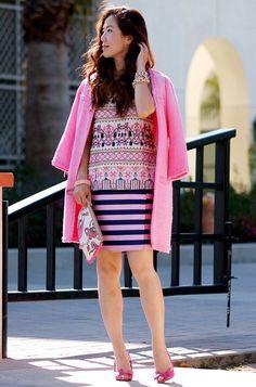 5.13 a pink mess (Zara hot pink coat + River Island printed top + J Crew striped skirt + Celine peep-toe heels + LOFT clutch)