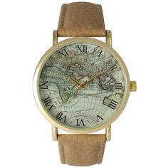 This classic-style watch features an atlas design on the face. This watch also features a goldtone bezel and Roman numeral markers, and it is finished by a comfortable leather band that closes with a simple buckle clasp.