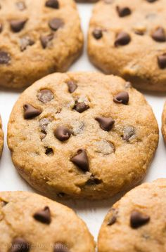 Healthy Banana Chocolate Chip Cookies Recipe -- only 90 calories! Sweet, easy & chewy! True cookie perfection!