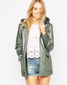 Image 1 of ASOS Rain Mac with Quilt Detail