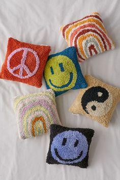 Happy Face Tufted Mini Throw Pillow