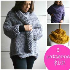 Knitting patterns, 3 knitting fall patterns sale, knitting sweater patterns…