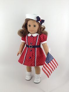 America Girl 18-inch Doll Clothes - Vintage 1940's DuBarry Dress in Red/Navy/White, Sailor Hat, & Panties