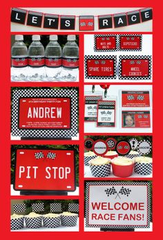 Race Car Party - INSTANT DOWNLOAD full Printable Birthday Party Collection + Invitation - EDITABLE text you personalize with Adobe Reader