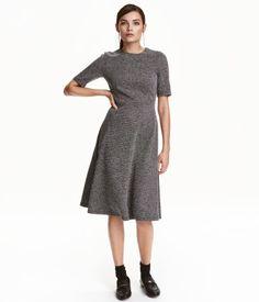 Strukturvävd klänning   Svart/Vit melerad   Dam   H&M SE