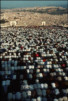 Morocco.Fez.Faithful praying (Aid prayer) in the msalla of Bab Ftouch with cityscape in the background.1994