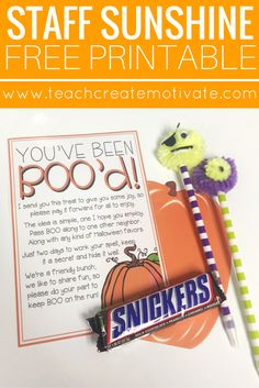 "Spread staff sunshine with this FREE ""You've Been BOO'd!"" poem!"