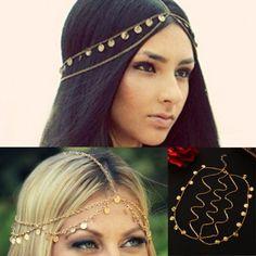 Hot Fashion Lady Women Metal Rhinestone Head Chain Headband Head Piece Hair Band