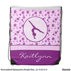 Personalized Gymnastics Purple Heart Floral Backpack by Golly Girls