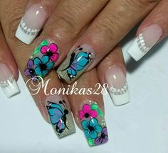Creative Nail Designs, Simple Nail Art Designs, Perfect Nails, Gorgeous Nails, Rainbow Nail Art, Butterfly Nail Art, Nail Tattoo, Bright Nails, Feet Nails