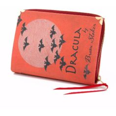 Dracula Book Clutch Bag ($62) ❤ liked on Polyvore featuring bags, handbags, clutches, red handbags, embellished handbags, embellished purse, red purse and red clutches