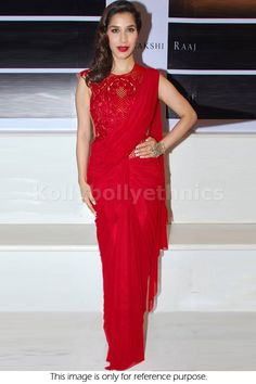 Bollywood Actress Sophie Choudry Satin Silk Saree in Red color