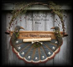 Primitive Americana Flag Bunting Hanger with Crows and Document e-Pattern