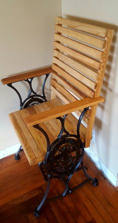 Old sewing machine base and reclaimed osk chair
