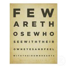 "Albert Einstein Quote Poster - ""Feware thosewhoseewiththeirowneyesandfeel withtheirownhearts."""