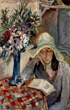 "Jacques (Ya'akov) Chapiro (Russian, born 1887 - 1972)  ""Reading Woman"""
