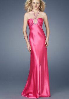 Graceful Empire Sheath/ Column Long Elastic Silk Like Satin Sweep Train Prom Gowns - Lunadress.co.uk