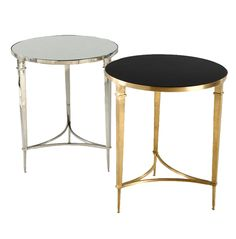 Sofia Round Side Table   Side Table Available In Brass With Black Granite  Top Or Nickel With Mirrored Top.