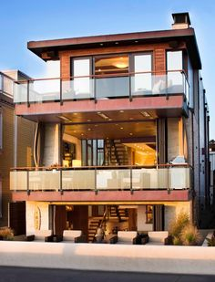 modern beach homes with rooftop deck | ... numbers balcony beach house flat roof glass railing grasses metal beam