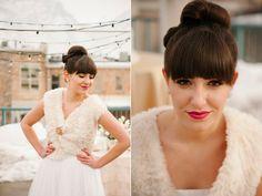 modern winter rooftop wedding fur bride jacket red lipstick