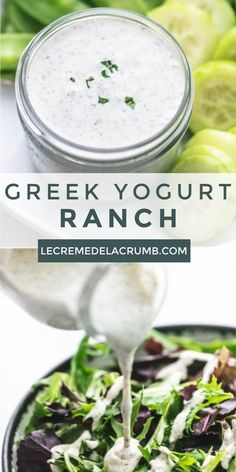 Greek Yogurt Ranch is a creamy, low-fat and low-cal delight of a dressing. Creamy, smooth, a bit tangy, and with all the ranch flavors you love…in a matter of minutes you could whip up a salad dressing or dip that's sure to be a hit!   lecremedelacrumb.com #dressing #healthy #easy #delicious #appetizer #ranch #greekyogurt Greek Yogurt Salad Dressing, Greek Yogurt Ranch Dip, Yogurt Salad Dressings, Healthy Ranch Dressing, Greek Yogurt Dips, Creamy Salad Dressing, Greek Yogurt Recipes, Low Fat Salad Dressing, Best Greek Yogurt